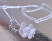 Necklace / Pendant - sterling silver wire and rock crystal gemstones on silver chain - You Are On The Right Path