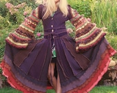 Recycled Sweater Coat - Autumn Blessings -  Upcycled, Gypsy, Renaissance, Wiccan, Elven Hood, Ready to Ship  by VintageDesignByVines