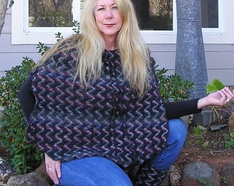 Recycled Sweater, Poncho, Shawl, Upcycled Sweater, Small to Medium by VintageDesignByVines