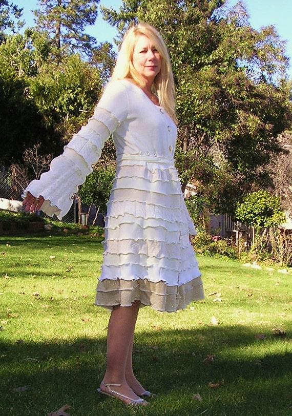 Swan Lake - Upcycled, Recycled, Sweater Coat, Wedding Dress, Bridal, Elegant,  Eco, Renaissance Faire, By VintageDesignByVines