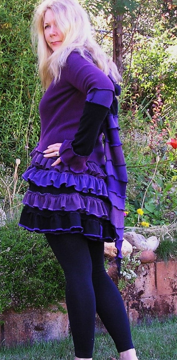 Recycled Sweater Coat, Grape Hyacinth-Upcycled, Double Ruffle Bustle Coat,  Steampunk, Purple, Black