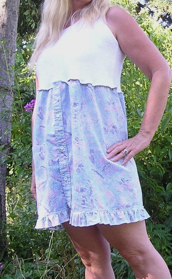 Boyfriend Dress - Upcycled, Recycled, Men's Shirt Dress, Tank, Blue, White by VintageDesignByVines