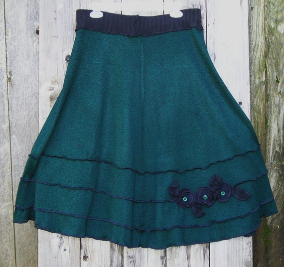 Reserved for GiGi  -Sale 39.00 was 69.00 Long Sweater Skirt with Flowers, Applique, Womens Skirt, Green, Black, A line skirt
