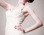 Vintage 60s delicate nude peach cream frill classic dainty bullet bra slip dress