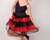 Mini Skirt / 1980s Skirt / Vintage 80s Skirt / Red and Black / Lace and Tulle / Ruffle Skirt / Size Small Medium Large / S M L 0392