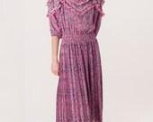 Reserved - Designer Vintage Diane Freis Pink Ruffle Bohemian Maxi Dress Floral Boho