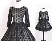 1950s Cocktail Dress /  Black and White Geometric Dress With Rhinestone Embellished Sleeve Cuffs Bombshell Mad Men Madmen 0320