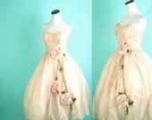 1950s Wedding Dress / Vintage Wedding Dress / Dress / 1950s / Bombshell / Rose / Pink / Madmen / Pinup  / 0805