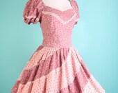 Vintage Dress / Prairie Dress / Mad Men Dress / Dress / Dresses / Bohemian / Cotton / Wedding Dress / Pink / Dusty Rose /  0845