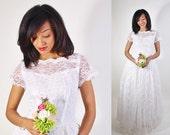 Lace Wedding Dress / 1950s Wedding Dress / Long Dress / White Lace / Bombshell / Pinup / Vintage Lace / White / Dress / Dresses / 0943