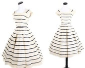 Crochet Lace Dress - 1950s Wedding Dress - Mad Men - Rustic - Bombshell - Romantic Dress - Black and Ecru - 01025