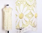 Mod White Lace Yellow Daisy Pom Alternative Wedding Dress / White Lace / Wedding Dress / Short Dress / Dress / Dresses / Daisy / 1165