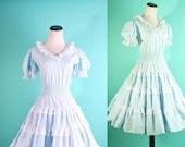 Vintage Dress / Dress / Dresses / Cotton/ Circle Skirt / Baby Blue / Robins Egg Blue / Country Western Dress / Prairie Dress /  0867