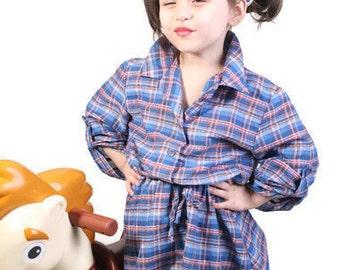 Western Dress / Children's Dress / Dress / Dresses / Girls Dress / Plaid / Cotton / Blue / Shirt Dress / Child's Dress / Rockabilly / 0927