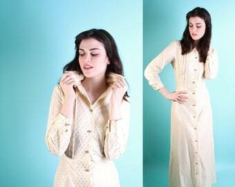 Wedding Dress / Vintage Wedding Dress / Dress / Beige / Long Wedding Dress  / Informal Wedding Dress / 1970s Dress / Rhinestones / 0789
