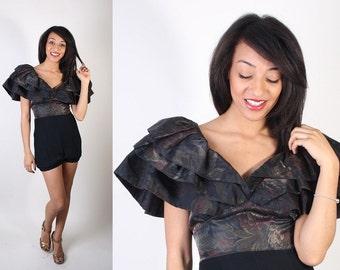 Avant Garde / Romper / Tapestry / Metallic / Floral / Onesie / Jumpsuit / Shorts / Ruffle / Bodysuit / 0945