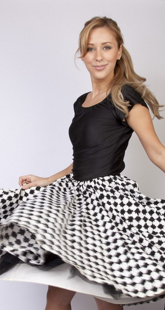 Vintage Morton Myles for the Warrens geometric swing houndstooth black and white circle skirt cocktail party dress graphic wedding bride bridal prom houndstooth  pattern 0244