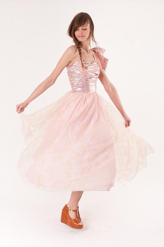 Metallic / Dress / 1980s Dress / Party Dress / Pink Dress / Prom Dress / Wedding Dress / Lame / 0264