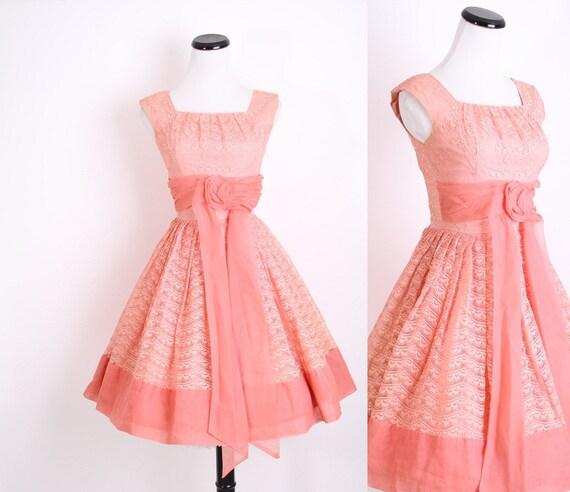 Reserved - 1950s Dress / Mad Men Dress / 50s Dress / Coral  / Dress / Pink / Vintage Lace / Bombshell / Pinup / Short Wedding Dress / 0666