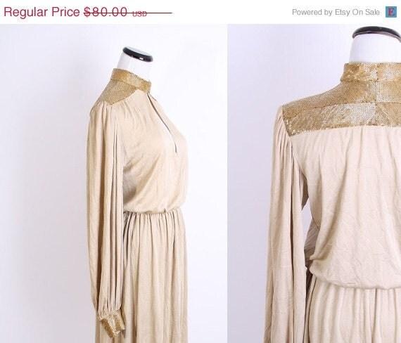 Boxing Day SALE Sequin Dress / Vintage Cocktail Dress / 80s Dress / Gold / Beaded / Dress  / Dress / Cocktail Dress / 1980s / Fashion / 063