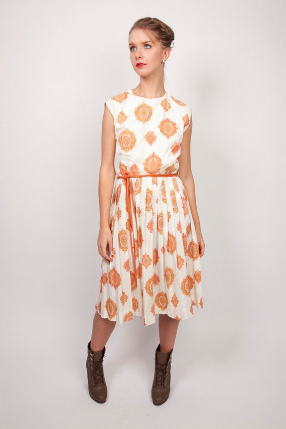 Vintage 60s R&K Knits Summer Day Dress Light Wight Tangerine Orange Cameo Demask Paisley Print with Hot Pink Details 0328