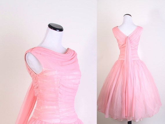 1950s Dress / 1950s Cocktail Dress / Cocktail Dress / Party Dress / Pink / Wedding Dress / Bombshell / Pinup / Mad Men Dress /  / 0954