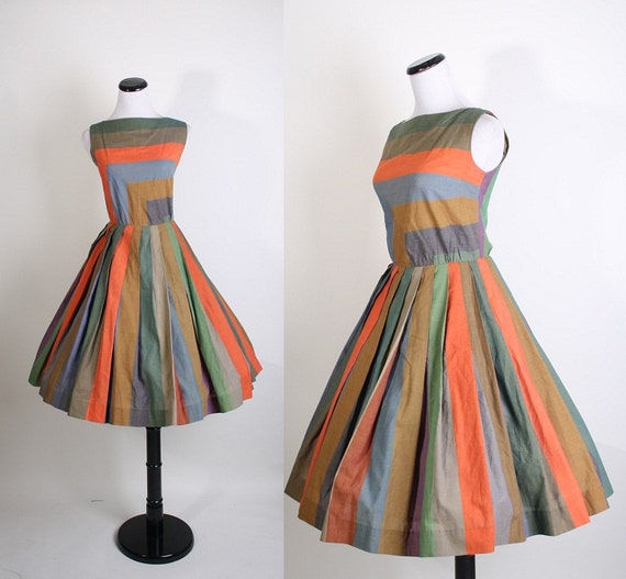 1950s Dress - Dresses - Cotton Dress - Multi Color Dress - Geometric - Minimalist - Modern Dress - Mad Men Dress - 1046