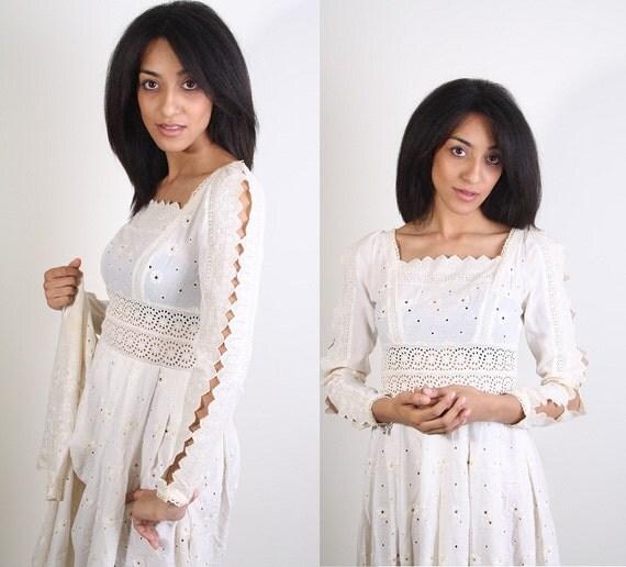 Vintage Eyelet Lace Wedding Dress - Designer Neiman Marcus - Cut out Dress - Boho Wedding - Dress - Dresses - Bohemian - 1027