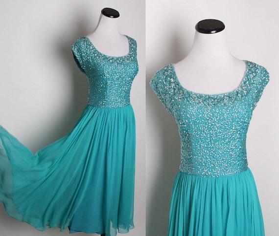Teal Jewel Green Cocktail Dress / Chiffon Dress / Dress / Dresses / Mad Men / Bombshell / Sequin / Sequins / Beaded / 1137