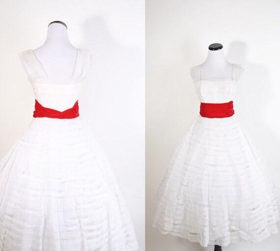 1950s Wedding Dress - Vintage Lace - Dress - Dresses - White Wedding Dress - Red Velvet - Bombshell - Mad Men Dress - 1057