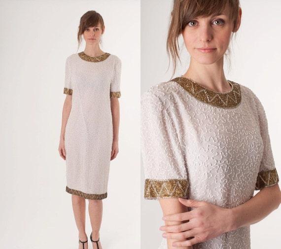 Vintage  Sequin Dress / White Gold Art Deco / Shift Short Mini / Wedding Cocktail Party / Wedding Dress / Short Dress / Art Deco / 0272