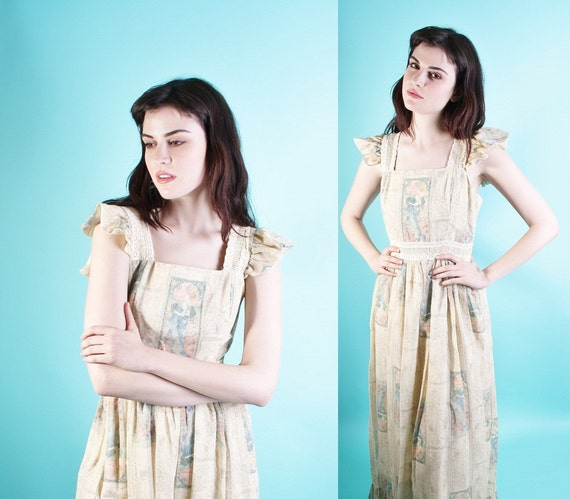 Art Nouveau / 1970s Dress / Long Dress / Boho / Dress / Dresses / Bohemian / Wedding / Maxi /  0806