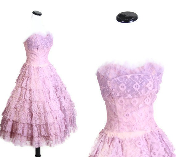 1950s Wedding Dress Purple and Pink Lace Bombshell Wedding