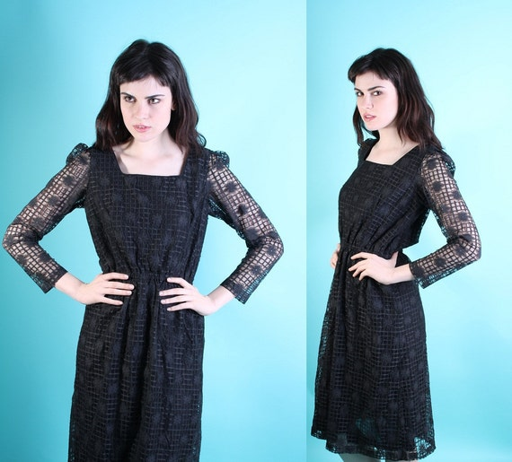 Cocktail Dress / Little Black Dress / Dress / Dresses / Black / Vintage Lace / Illusion Lace / Goth / Lolita / 0821