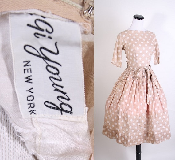Gigi Young / Dress / Dresses / Beige / 1950s Cocktail Dress / Designer Vintage / Designer / Polka Dot / Polkadot / Mad Men Dress / 0985