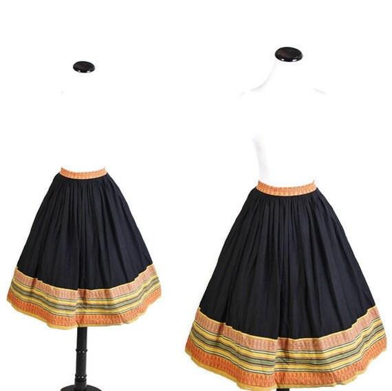 1960s Skirt - IKAT Skirt - Black Skirt - Circle Skirt - Ethnic Fashion - Aztec Southwestern - Tribal  Skirt -  1050