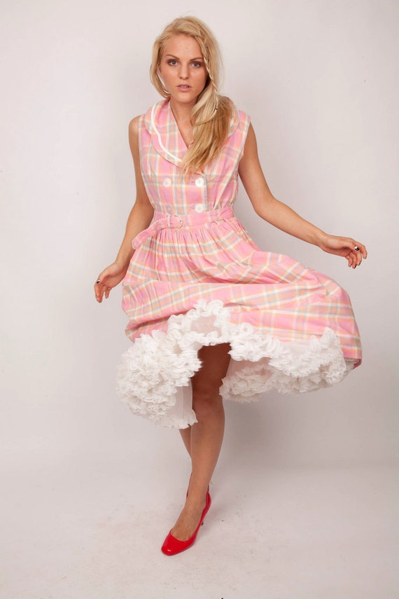 Vintage 1940s Bubblegum Pink Cotton Plaid Double Breasted Belted Day Dress 0401