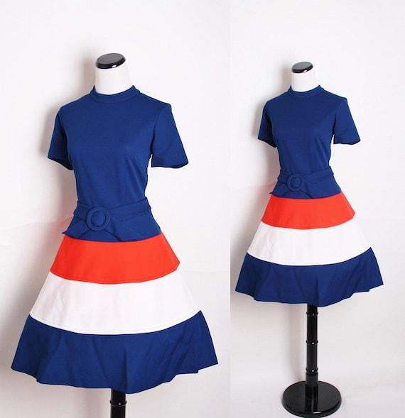 1960s Mad Men Nautical Dress / Color Block / Dress / Dresses / Colorblock / Mod / Colour Block / Nautical / 1173