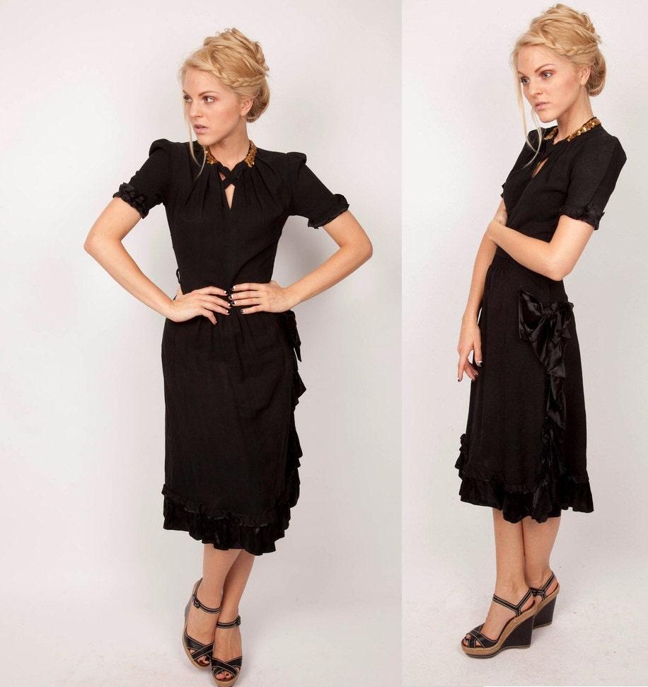 sequin fashion vintage 1930s dress 1930s black dress 30s
