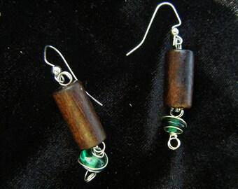 Recycled Wood Bead Hanging Earrings
