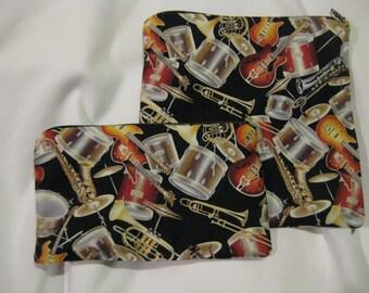 Reusable Zipper Sandwich & Snack Bags Eco Friendly Set of 2 Musical Instruments Guitar Drums Trombone Trumpet Print sku 1023