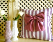 Preppy Love Cushion - Purple and white striped cushion with large purple bow