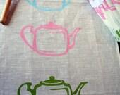 "Linen Tea Towel- hand printed ""Retro teapots""  100% linen"