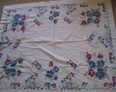 Tablecloth Vintage 1950s Tulip Floral