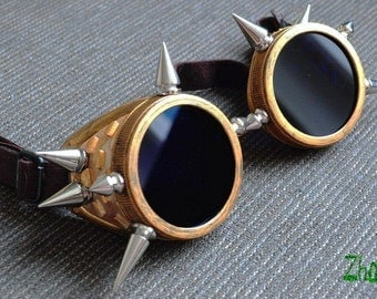 STEAMPUNK SPIKE GOGGLES Cyber Goth Goggles Glasses  Spikes CyberPunk Industrial Noise Dark Wave Red Gold Clubbing Goggles Burning Man