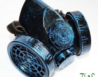 Black Cyber Mask Cyber Goth Respirator Gas Mask Sheen Dark Cobalt Sparkle