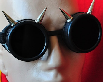 Silver Spike Cyber Goth Goggles Glasses Spikes CyberPunk Industrial Noise Dark Wave EDM Rave Music Festival