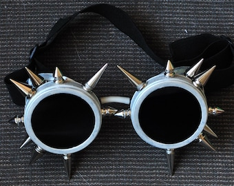Cyber Goth Goggles Glasses 18 Spikes Punk Industrial Noise Dark Wave Steampunk