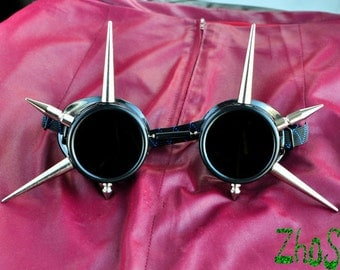 Steampunk Glasses Black Cyber Goth Goggles Glasses Spikes CyberPunk Industrial Noise Dark Wave Metal Industrial Studs Burning Man