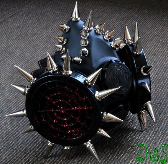 Black Cyber Mask Cyber Goth Respirator Gas Mask 44 Spikes Fetish Fetish Respirator Mask
